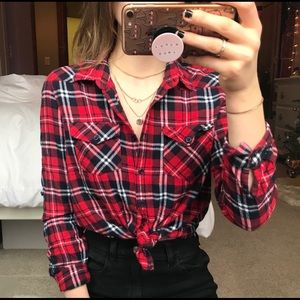 Forever 21 Red Plaid Button-Up Flannel
